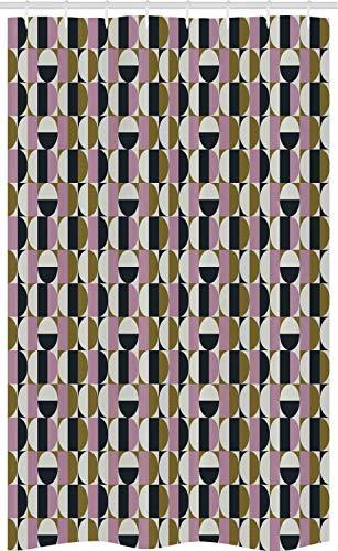 ABAKUHAUS Retro Schmaler Duschvorhang, Bauhaus geometrisches Muster, Badezimmer Deko Set aus Stoff mit Haken, 120 x 180 cm, Mehrfarbig
