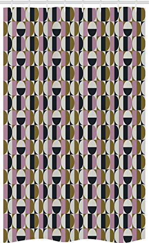 ABAKUHAUS retro Douchegordijn, Bauhaus Geometrische, voor Douchecabine Stoffen Badkamer Decoratie Set met Ophangringen, 120 x 180 cm, Veelkleurig