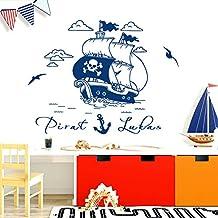 Wandora W1521 muursticker voor kinderslaapkamer piraatschip gepersonaliseerde naam, aanpasbaar, azuurblauw, (BxH) 79 x 47 cm