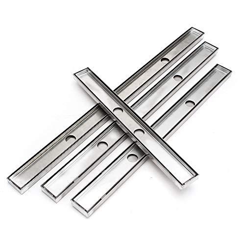 PIJN Bodenablauf Tile Insert Dusche Gitter Bodenablauf Linear Badezimmer 600-1000MM Edelstahl (Color : Silver, Size : 60cm)