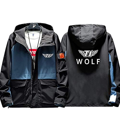 73HA73 Kapuzen Sweatshirt Herren Full Zip LOL League of Legends SK Telecom T1 E-Sport Wolf Coat Jacke Komfortable Sweatshirt Unisex (No Shirt),Blue,L(170-175cm)