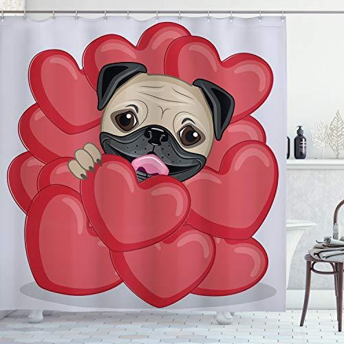 Ambesonne Duschvorhang, Motiv: Mops mit großen Herzen & süßem Haustier, mit Haken, 213 cm extra lang, Rot Schwarz Hellbraun