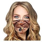 Cerlemi Mundschutz Lustig Waschbar Lustige 3D MotiveMund-Nasen-Masken, Wiederverwendbare Outdoor Unisex Staub, Baumwolle Soft Halstuch Bandana Mund und Nasenschutz Erwachsene