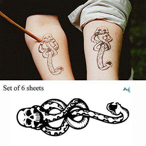 Yeeech 6 Sheets Harry Potter Magic Mantra Snake Skull Death Easters Dark Mark Designs Temporary Tattoos Sticker for Kids Men Women Waterproof