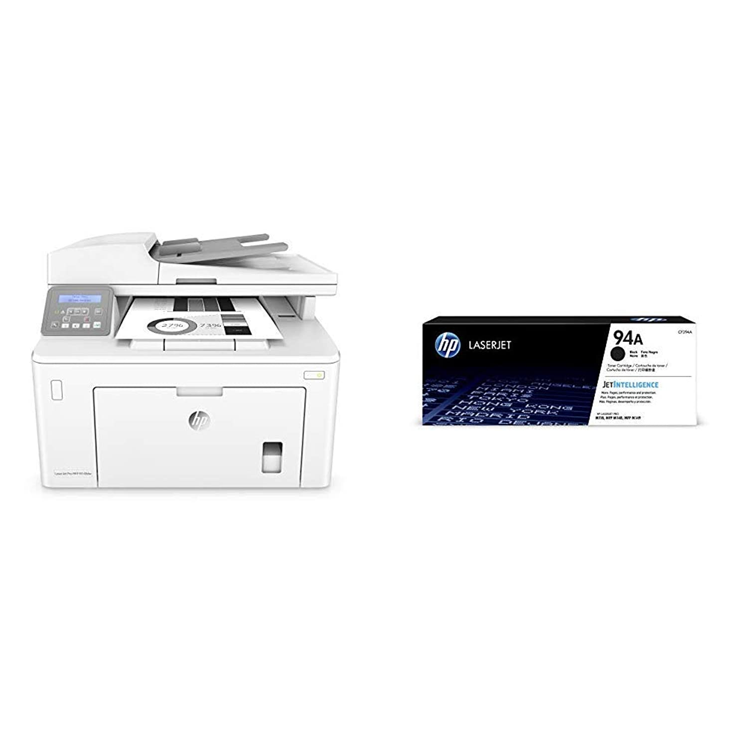 HP Laserjet Pro M148dw All-in-One Wireless Monochrome Laser Printer with Auto Two-sided Printing, Mobile Printing & Built-in Ethernet (4PA41A) with Standard Toner Bundle