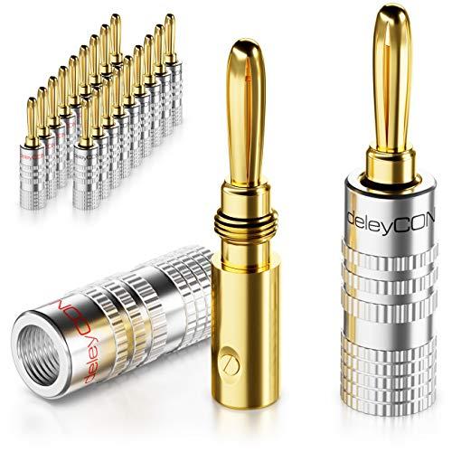 deleyCON 20x Bananenstecker als Set Vergoldet Schraubbar für Lautsprecherkabel 0,75mm - 4mm & z.B. HiFi Receiver