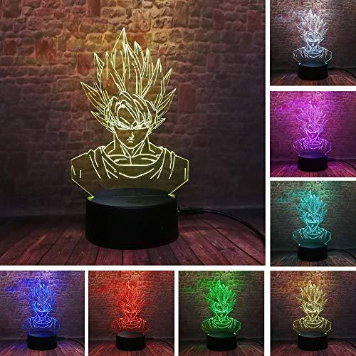 Lampe Illusion 3D, Sept Dragon Ball Cadeaux Jouets Décor LED Night Light Lampe 7 Couleurs Touch Control USB Alimenté parti décoration Lampe, 3D Lampe Visuelle