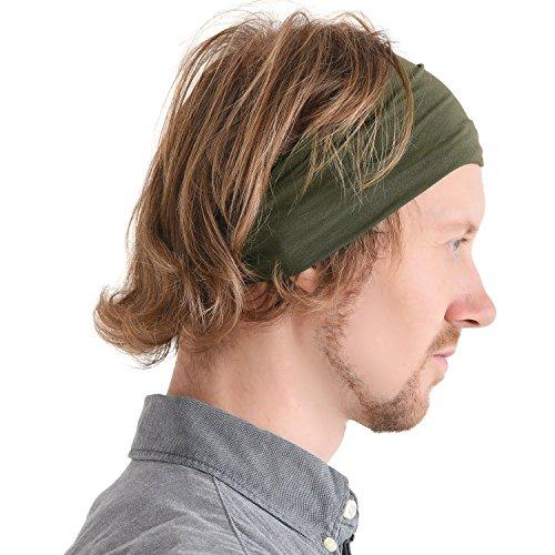 Casualbox Homme Japonais Élastique Bandeau Cheveux Bande Accessoire Sport Kaki