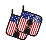 Caroline 's Treasures American Flagge und Rottweiler, Paar Topflappen bb2175pthd, 7.5hx7.5W, multicolor