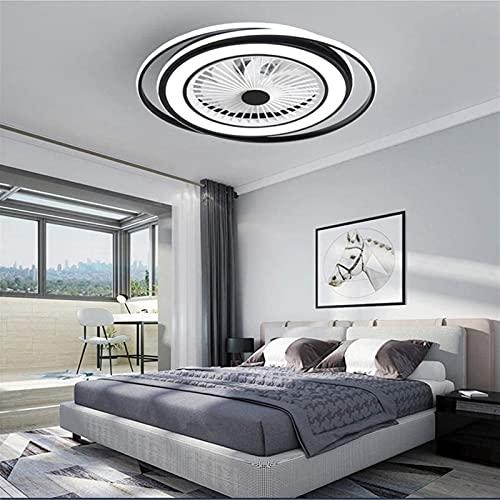 Luz de ventilador DIRIGIÓ Luz de techo, dormitorio nórdico Inicio Ventilador de techo invisible Luz, Restaurante Habitación para niños Sala de estar con control remoto Luces de ventilador de techo tra