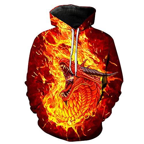 ASHGNV Patrón de dragón Que escupe Fuego Impresión Digital 3D Sudadera con Capucha Unisex HD Pullover Sudadera Ligera Conjunto de Pareja de bolsillo-6XL