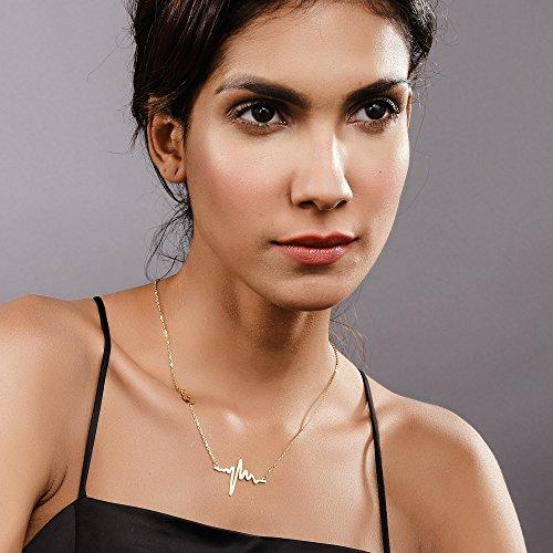 Collier Battement de coeur tour de cou pour femmes bijoux délicats en acier inoxydable 316L plaqué or ECG - 6