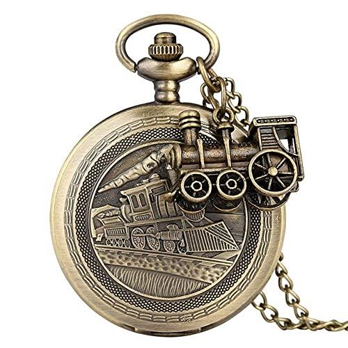 DIEFMJ Reloj de Bolsillo Bronce Cuarzo Reloj de Bolsillo Tren Locomotora Motor Collar Colgante Cadena Los Mejores Regalos para Hombres Mujeres con Accesorio de Tren