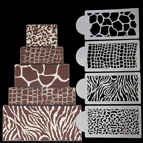 4 Pcs Leopard Print Cake Stencil Zebra Print Stencil for Cakes, BPA Free Food Grade Plastic Cake Decorating Bakery Tools Cake Baking Stencil for DIY Baking Cake