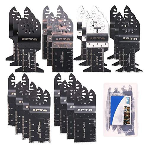 SPTA 20Pc Multi herramientas Oscilantes Juego de Hoja Oscilante Sierra, Accesorio Multiherramienta Herramientas Oscilantes de liberación rápida Conjunto de hoja de sierra universal para madera y metal