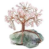 W.Z.H.H.H Crystal Rough Natural Raw Fluorite Base Rame Filo Rame Avvolto al Quarzo Rosa Chips Pietra Albero figurina Ornamento .Cristalli di guarigione