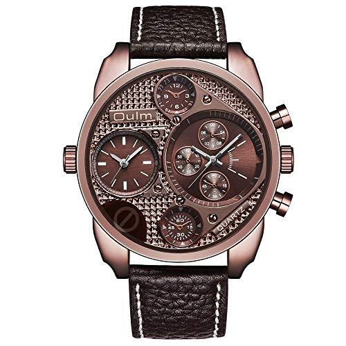 Armbanduhren,Casual Quarzuhr Japanischen Bewegung Mode Persönlichkeit Dekorative Zifferblatt Doppelzeitzonenuhr, Kaffee Shell Kaffee Nudel