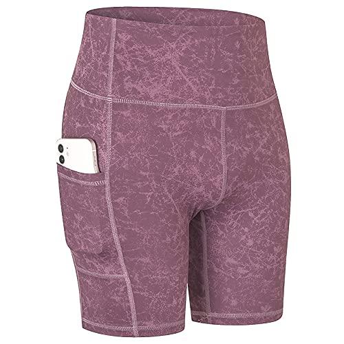 Huntrly Pantalones Cortos para Mujer Pantalones Cortos de Yoga Estampados a la Moda con Bolsillos Pantalones Cortos Deportivos elásticos y de Secado rápido cómodos y Ajustados M