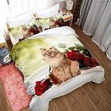 NYLIN Fundas Nórdicas Gato Juego De Ropa De Cama Lindo Mascota Animal Rosa Colcha 2/3/4PCS Fundas De Edredón Nórdico/Almohada/Sábanas,para Cama 90/135/150/180 (220×230cm-Cama 150/160-4PCS,03)
