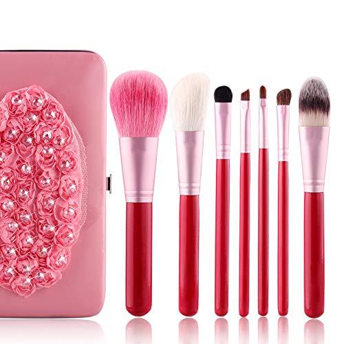 Brosses 7 Pièces Maquillage Pinceau Mélange Blush Correcteur Yeux Visage Liquide Poudre Crème Cosmétiques Brosses Kit avec Sac Maquillage pour Les Femmes (Color : Rose, Size : Libre)