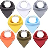 KiddyCare Baby Bibs 8 Pack - Waterproof 100% Organic Cotton for Drooling and Teething - Soft & Absorbent Bandana Bibs for Baby Boys and Girls - Unisex Baby Shower Gift Set
