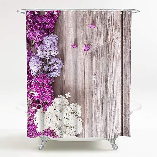 Duschvorhang Flieder 180 x 200 cm, hochwertige Qualität, 100prozent Polyester, wasserdicht, Anti-Schimmel-Effekt, inkl. 12 Duschvorhangringe