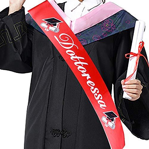 FLOFIA Fascia Dottoressa Laurea Fusciacca Sciarpa Fascia Laureata Dottoressa Gadget Accessori per Festa Cerimonia di Laurea Party Rosso