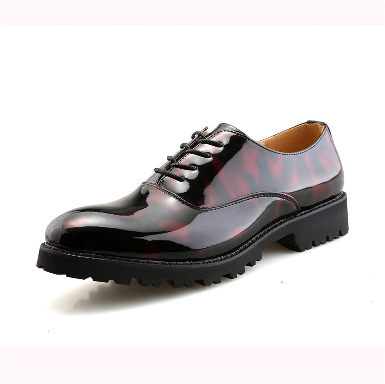 2018 Herren Herren Herren Business Oxford Freizeit Classic English Style Runde Zehe mit bequemen Laufsohle Lackleder Formelle Schuhe (Farbe   Rot, Größe   37 EU)  d0b5fc