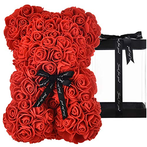 Oso de rosas oso rosa oso rosas oso de peluche flores rosa osito de peluche, regalos para mamá, mujeres, regalos para niñas adolescentes, regalos para madres, aniversario, día de san valentín (rojo)