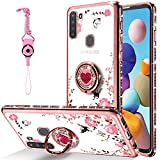 CPAYAI for Samsung Galaxy A21 Phone Case, Glitter Diamond Cute Floral Butterfly Clear Cover Bling Crystal Sparkly TPU Silicone Cases with Shiny Rhinestone Ring Holder Stand for Galaxy A21 (Rose Gold)