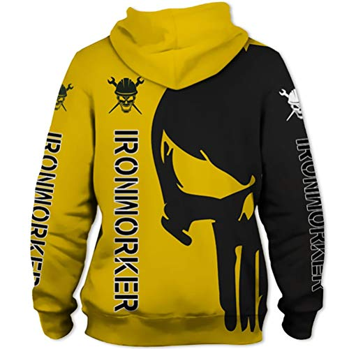 Heart Gifts Black Yelow Ironworker Punisher Skull 3D All Over Printed Pullover Hoodie, T-Shirt, Zip Hoodie, Sweatshirt, Hawaiian Shirt, Polo T-Shirt, Tank Top for Men and Women