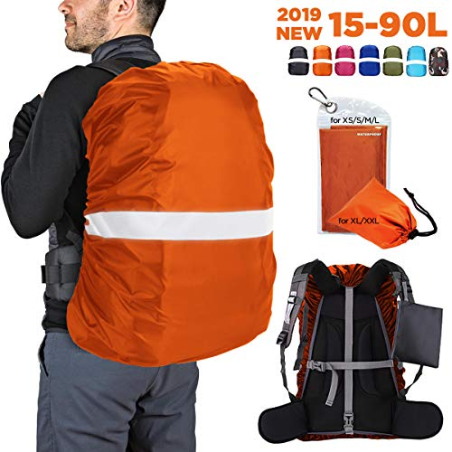 HUNSUETEK Reflective Backpack Rain Cover, Waterproof Travel Pack Cover with Anti Slip Adjustable Buckle Straps, Rainproof Pouch for Hiking/Cycling/Traveling/Men/Women (Orange, XS(15L-25L))