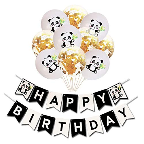 Amycute Panda Party Dekorationen Alles Gute zum Geburtstag Banner ,Panda Luftballons,Konfetti Luftballons Gold für Jungen Mädchen Panda Thema Geburtstagsfeier Babyparty Gefallen.