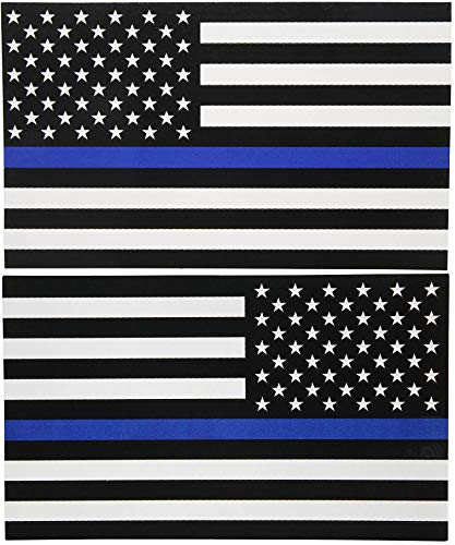 Sticker American Flag Subdued Thin Blue Line (Left-Right) USA Military Rock Metal Heavy Decal Laptop Car Window Door Wall Motorcycle Helmet Set size 3' x 5'inch