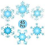 Outus 45 Pezzi Fiocchi di Neve Taglia Natale Concavo Fustelle Fiocco di Neve Abbellimenti 6 Pollici Cartoncino Taglia Fiocchi di Neve per Casa Aula Ufficio Arredamento, 6 Stili