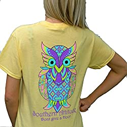 Southern Attitude Yellow Aztec Owl Don't Give a Hoot Preppy Short Sleeve Tee Shirt