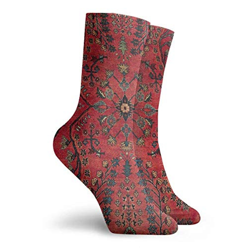 NGMADOIAN sokken rood persertapijt - Perzisch vintage antiek tapijt natuur kunstschilderij Svetlana Novikova Athletic Long Crew sokken (30cm)