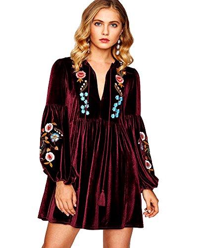 Aox Vestido corto de terciopelo para mujer, estilo vintage, manga larga, con bordado floral, talla grande