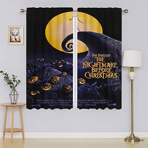 lacencn The Nightmare Before Christmas Jack Skellington Cortinas opacas con ojales para dormitorio, cortinas para mantener el calor, cortinas para dormitorio de 72 x 63 cm