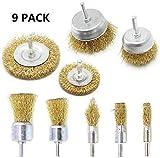 9 piezas Cepillo de alambre revestido de latón Juego de cepillos para ruedas y copas con...