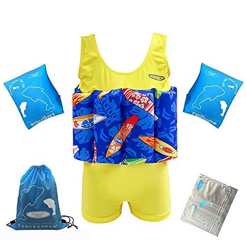 LK-HOME Schwimmanzug Für Jungen, Schwimmanzug Mit Verstellbarem Auftrieb, Schwimmtrainingskostüm Mit Armbändern, Badeanzug Für Kleinkinder,A,130
