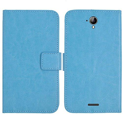 TienJueShi Blau Flip Book-Style Brief Leder Tasche Schutz Hulle Handy Hülle Abdeckung Silikon Wallet Cover Etui Skin Fur Medion Life X5520 MD 99607/99657 5.5 inch