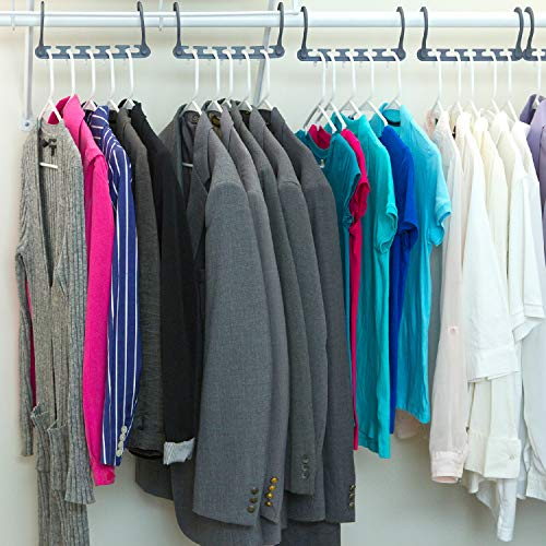 Wonder Hanger Max New & Improved, Pack of 10 – Triples Closet Space for Easy, Effortless, Wrinkle-Free Clothes, Comes Fully Assembled, Grey