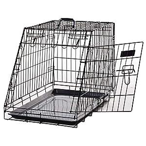 Pawhut Cage de Transport pour Chien Taille L dim. 76L x 48l x 55H cm métal Noir