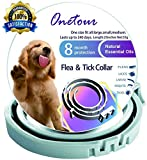 Onetour Flea and Tick Collar for Large and Small Dogs/Cats Hypoallergenic Waterproof 8 Months Protection | 100% Natural Essential Oil Flea and Tick Prevention for Dogs/Cats