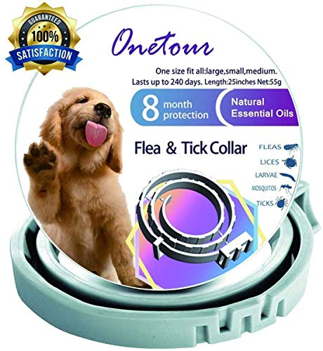 Onetour Flea and Tick Collar for Large and Small Dogs/Cats Hypoallergenic Waterproof 8 Months Protection | 100% Natural Essential Oil Flea and Tick...