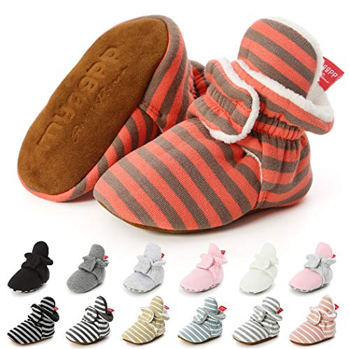 Baby Boys Girls Fleece Booties Infant Cotton Socks Newborn Soft Sole Winter Warm Stay On Slippers Non-Skid Cozy Crib Shoes(12-18 Months M US Toddler,F-Orange)