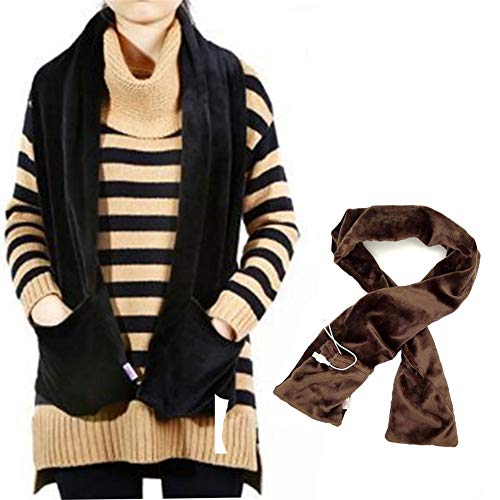 Fiery Scarf Winter Scarf Heated Scarf USB Women Heating Scarf Couple Scarf Neckerchief Plush Collar Scarves for Neck Warmer Cold Relief Outdoor Indoor Hiking Walking (Brown)