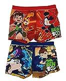 ben10 Juego 2 Pantalones Cortos de baño Ben con Inferno, Tennyson, Canonbolt y Upgrade, para niños en Azul y Rojo (98)