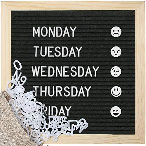 Puricon 25.4x25.4CM Memotafel Filz Buchstabentafel, Filzbriefkarton Memoboards Massage Board mit über 400 vorgeschnittene weiße Kunststoffbuchstaben und 45 Emojis für Wand -Schwarz